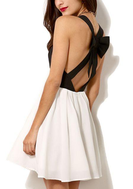 Women's contrast color cross bowknot back sleeveless wide hem dresses online