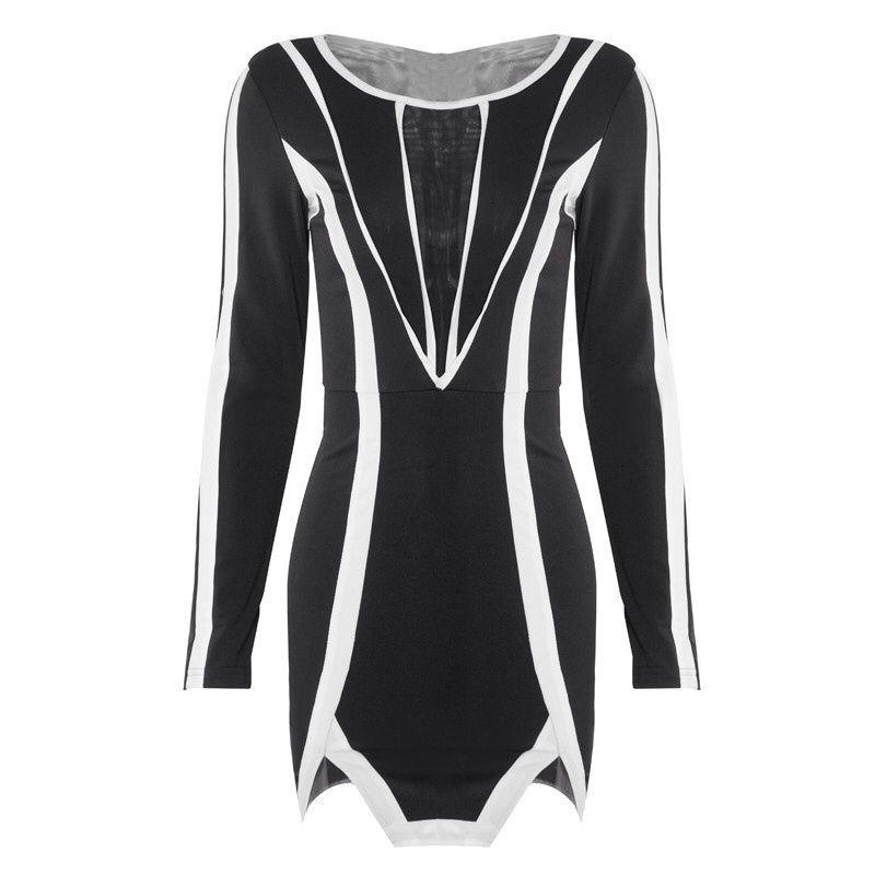 Asos style celebrity black white geometric mini dress long sleeve