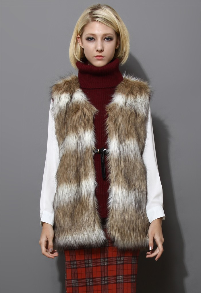 Faux Fur Vest in Striped Camel - Retro, Indie and Unique Fashion