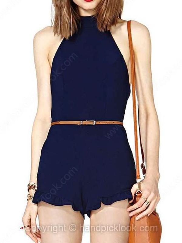 romper romper high neck high-neck high neck navy navy blue romper blue blue romper ruffle ruffle ruffle ruffle romper belted belted romper dress party outfits hipster jumpsuit spring wear