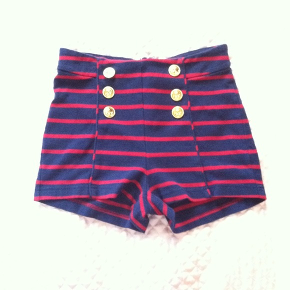 56% off  Pants - Navy blue & red striped High waisted Sailor shorts from Christy's closet on Poshmark