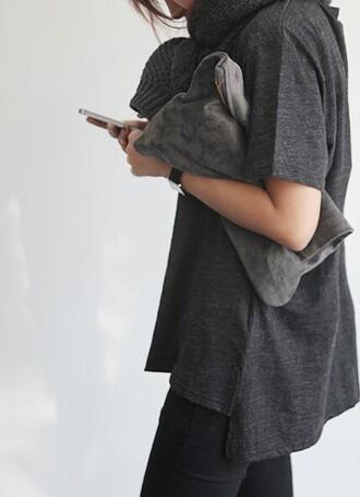 bag undefined grey clutch pants modern harem zip