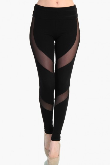 OMG Wing Mesh Cut Out Leggings - Black