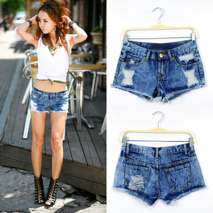 2014 hot pants summer blue Snowflake hole denim shorts short jeans women	 free shipping WKD108-in Shorts from Apparel & Accessories on Aliexpress.com