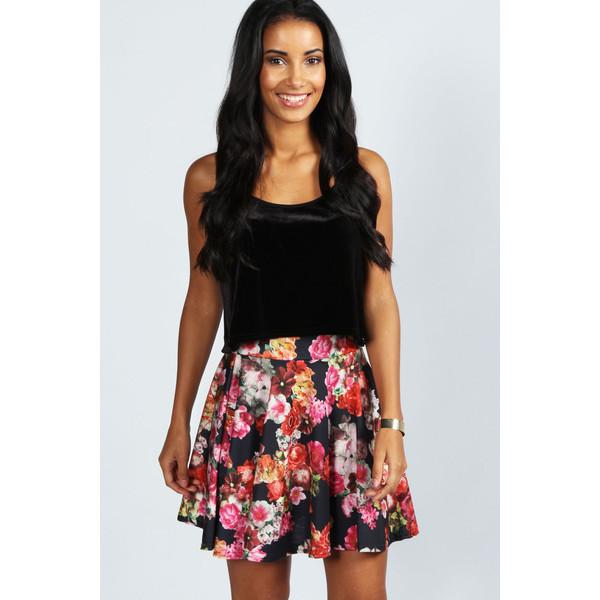 Boohoo Meghan Oversize Floral Full Skater Skirt - Polyvore