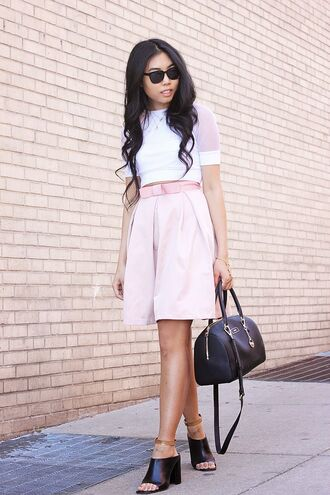 fashion of a novice blogger skirt cute girly spring spring outfits brown leather bag dkny white top pastel pink