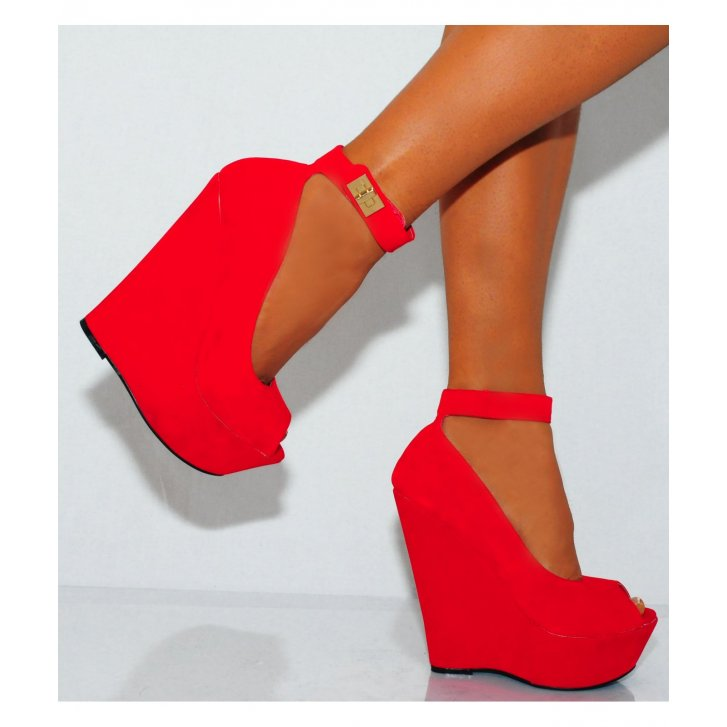 red faux suede peep toe ankle strap wedge platform high heels