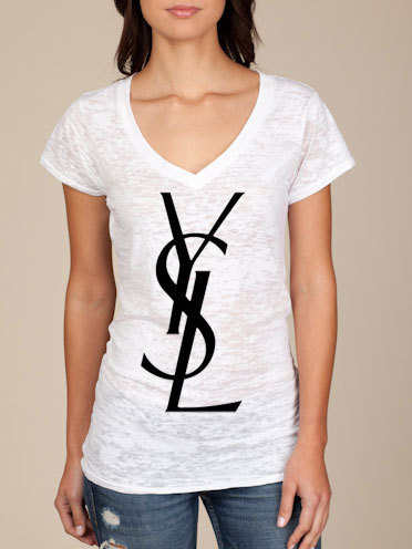 Ysl logo womens burnout white tshirt medium by calishirtsandmore
