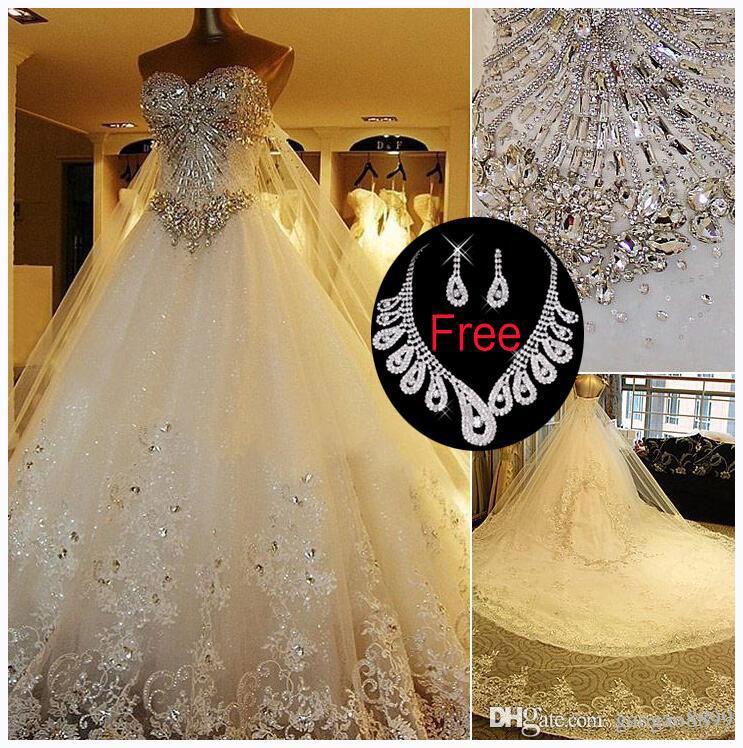 Amelia Sposa Sparkly Crystal Full Lace Wedding Dresses Luxury ...