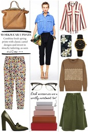 cocos tea party,blogger,office outfits,denim shirt,leather bag,printed pants,bag,shirt,jewels,pants,sweater,shoes,skirt