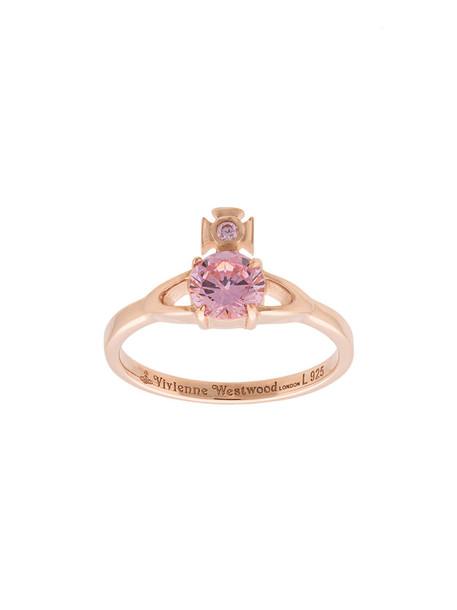 Vivienne Westwood women ring silver purple pink jewels