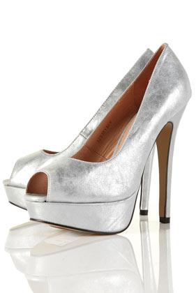 e044c53faa0 SIENNA Silver Metallic Platform Peep Toe Shoes - Heels - Shoes ...