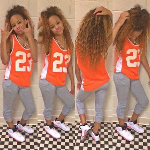 orange 23 jordan shirt orange and white