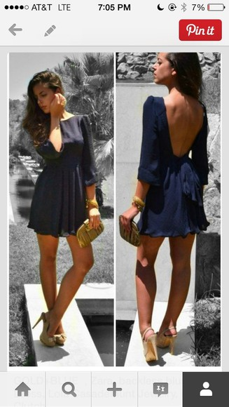 dress navy dress long sleeve dress low back dress