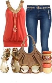 shirt,orange,gold,jeans,shoes,jewels,sunglasses