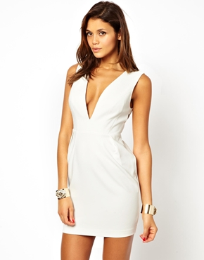ASOS | ASOS Deep V Dress With Cut Out Back at ASOS