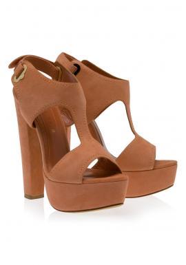 Cutout suede high heels