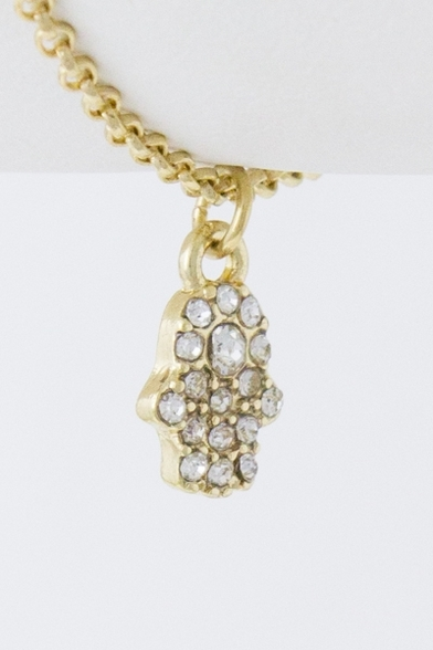 Tiny hanging crystal hamsa chain bracelet
