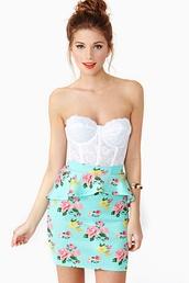 skirt,white lace bralette,white bralette,lace bralette,floral mint eplum skirt,floral mint peplum skirt,mint peplum skirt,floral peplum skirt,peplum skirt,top