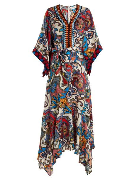 dress silk dress embroidered print silk paisley
