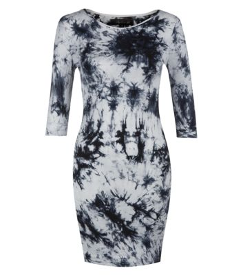 Atelier 61 grey tie dye bodycon long sleeve dress