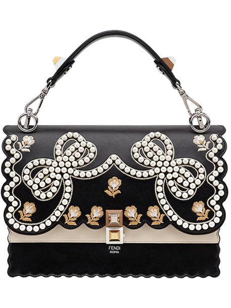 Fendi women embellished abs bag leather black