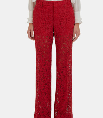 pants lace floral red