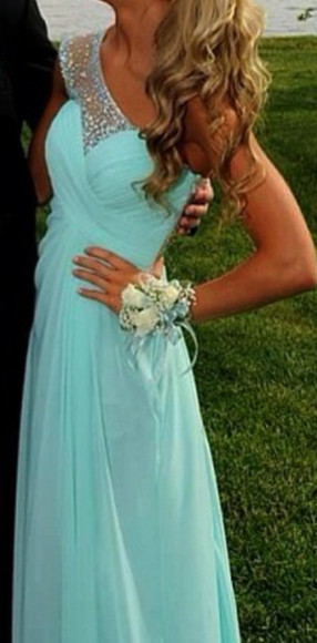 prom dress sparkle blue dress one shoulder