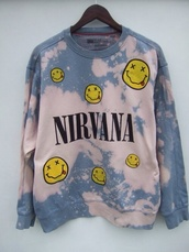 sweater,nirvana,tie dye,90s grunge,light blue,bleach wash,crewneck,cool,nirvana sweatshirt,music,band,acid wash,t-shirt,pale,tumblr,soft grunge,grunge,cool girl style,grunge sweater,sweatshirt