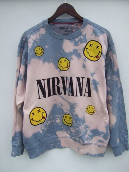nirvana cool nirvana sweatshirt sweater tie dye 90s style pale blue bleach wash