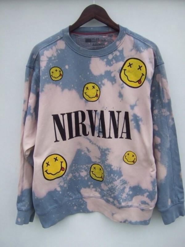 sweater nirvana tie dye 90s grunge light blue bleach wash crewneck cool nirvana sweatshirt music band acid wash t-shirt t-shirt pale tumblr soft grunge grunge cool girl style grunge sweater sweatshirt tie dye