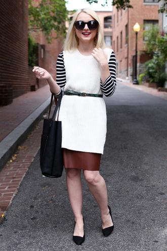 poor little it girl blogger stripes leather skirt