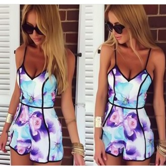 romper bright flowers summer cute romper cute outfits blonde hair girly sweet pretty girl tumblr fashion floral jumpsuit floral romper cute