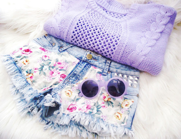 shorts floral studded denim sweater sunglasses denim shorts studs High waisted shorts runwaydreamz distressed denim shorts lilac shirt purple sweater flowered shorts flowers violett cute blouse top pastel purple