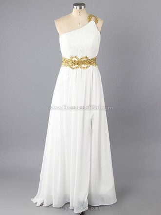 dress white prom fashion gown one shoulder maxi dress formal dressofgirl