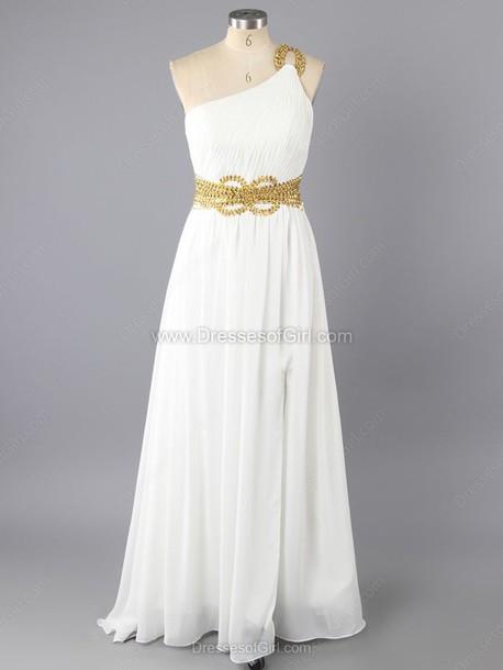 dress white prom fashion gown one shoulder maxi dress formal dressofgirl