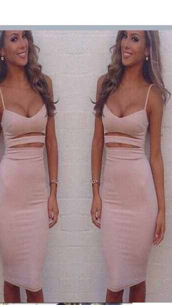dress midi dress bodycon dress baby pink bodycon dress nude dress bodycon cut-out dress pink dress pink tight fitting bodycon skin skintight nude peach pale skin colour colorful colorful straps cut out hole sexy blush pink cut-out dress beige beige dress nude dress