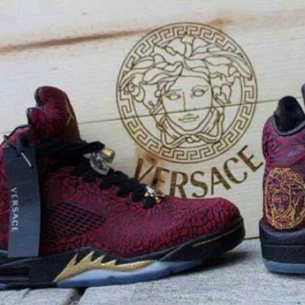 shoes, versace jordans, burgundy