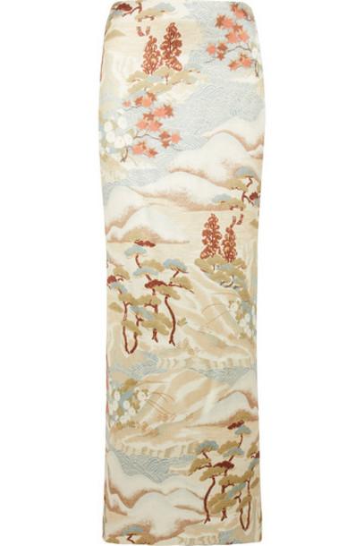 GIORGIO ARMANI skirt maxi skirt maxi silk satin beige