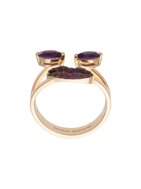 Delfina Delettrez women ring gold purple pink jewels