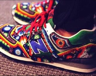shoes style new balance new balance sneakers red beaded