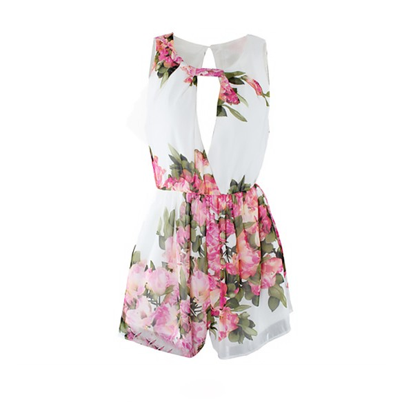 Open Back Keyhole Playsuit In Floral Print