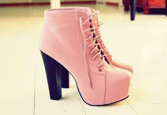shoes high heels laced up cute boots baby pink high heels cool, sweet, amazing, flawless, beautiful , dream, noah, nyc pink high heels gorgeous shoelace shoes, pink, heels pink high heels high heels black high heels