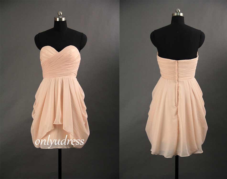Simple Elegant Cheap Bridesmaid Dresses, Short Chiffon
