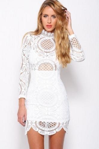 dress mini lace white lace high neck crochet sexy wots-hot-right-now white mini dress sexy dress