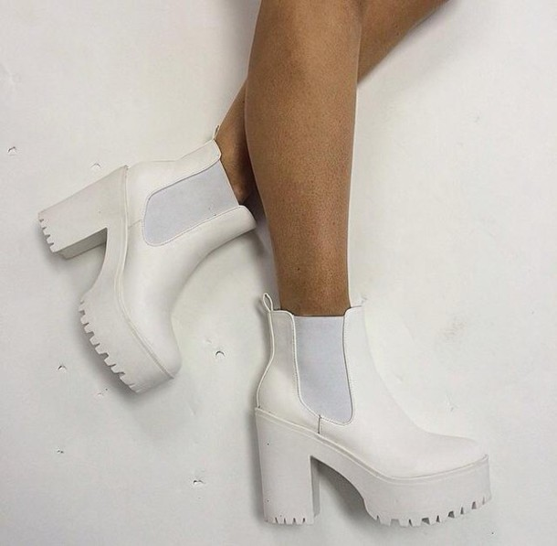 shoes white block heels chunky chunky boots chunky heels