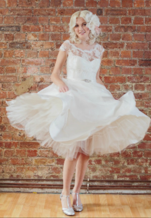 dress short dress wedding dress 50s style puffy lace dress hat shoes hipster wedding