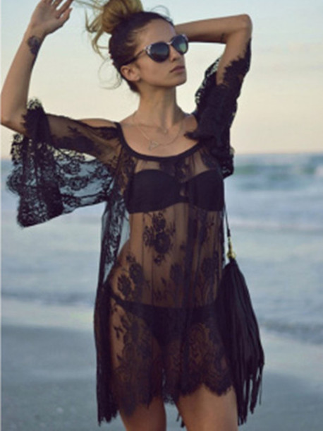dress fashion dress women black dress lace dress see through dress swimwear sheer lace black see through fashion cover up beach see through dress bag cover up black dress sexy sexy dress sexy cardigan hollow out style stylish trendy summer beach dress beautiful simple dress soft