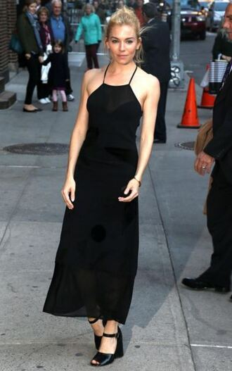 dress gown black dress sienna miller sandals