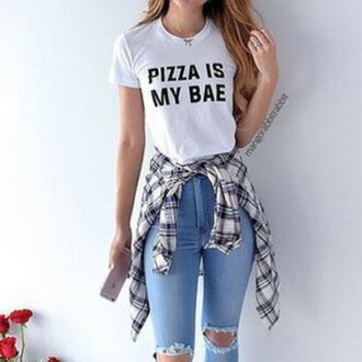 shirt white white t-shirt top pizza t-shirt blue fannel grey black bae jeans sweater